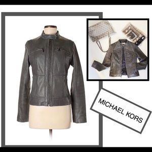 Michael Kors leather gray Moto jacket